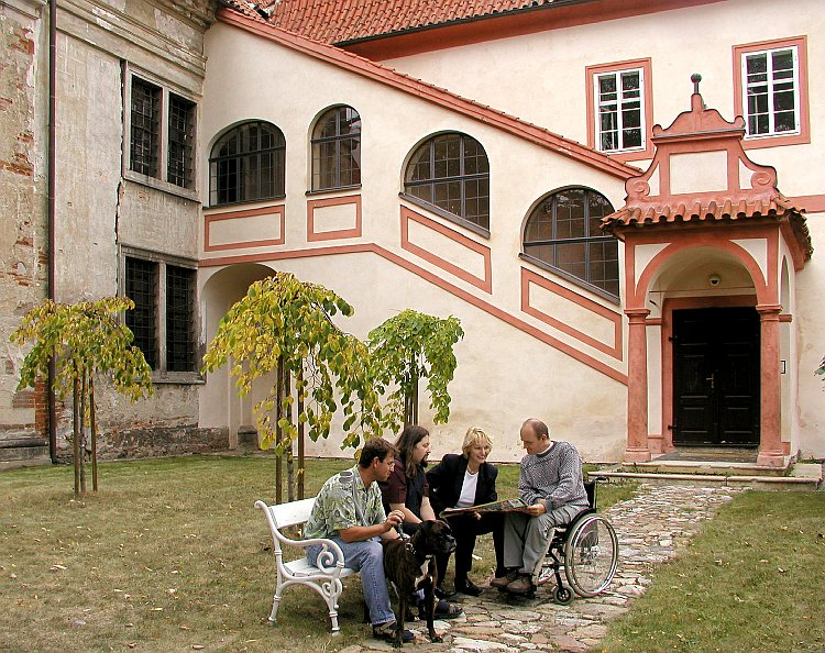 A Brainstorming Session in front of the Monastery Monastery of Ritters of Crusaders order with red star, foto: Lubor Mrázek