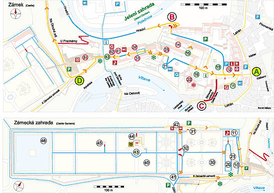 Český Krumlov: A Guide for Handicapped and Other Visitors, Map of the Český Krumlov Castle