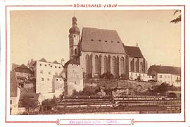 Church of St. Vitus in Český Krumlov with original Baroque tower, historical photo